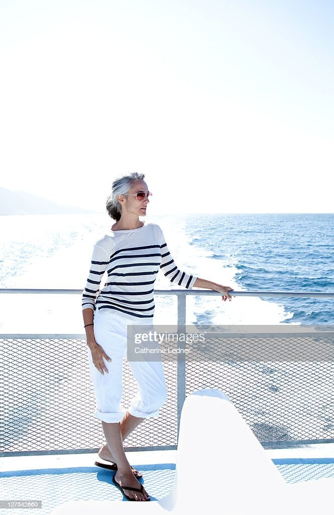 Woman traveling on boat : Stock Photo