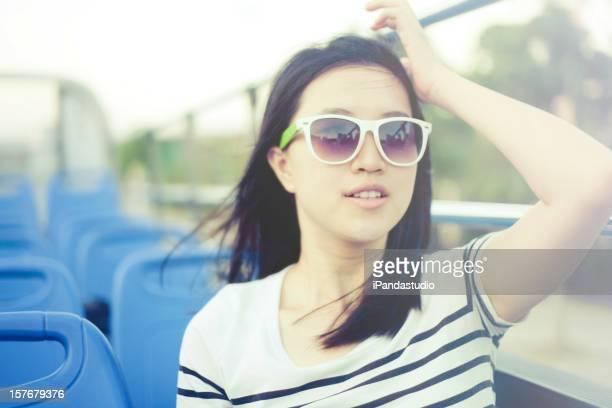 Woman traveling on bus