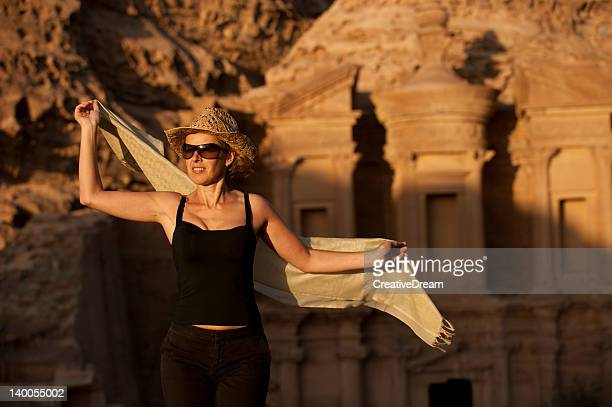 Woman traveller at the Monastery. Petra