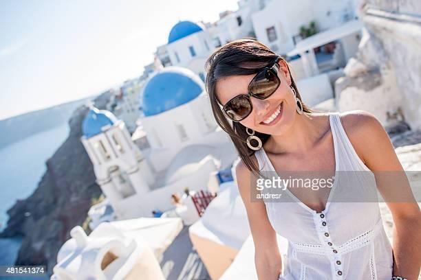 Woman traveller in Santorini - Greece