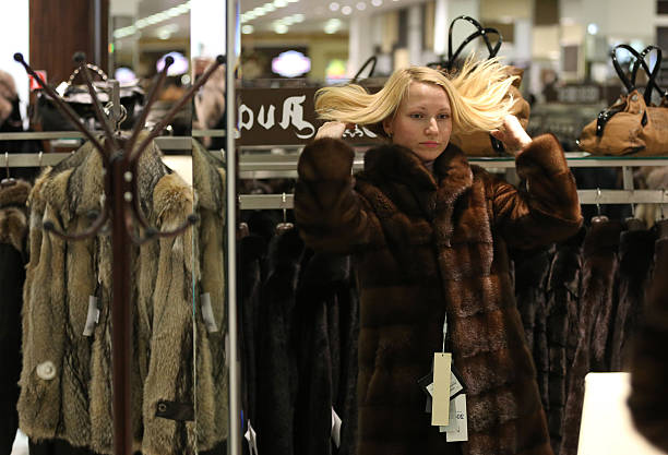 Inside a Luxury Furrier Clothing Store Photos and Images | Getty ...