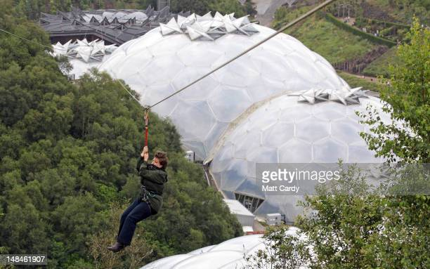 A woman tries out the SkyWire the new zip wire attraction which opens to the public this week at The Eden Project on July 17 2012 in St Austell...