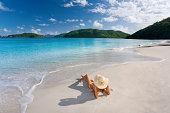 Woman tropical beach vacation