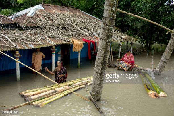 SARIAKANDHI BOGRA DHAKA BOGRA BANGLADESH A woman uses a banana boat for transport during flooding at Sariakandhi Bogra Peoples suffering continues as...