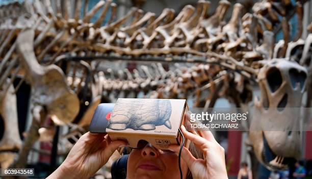 A woman uses a smartphone equipped with a socalled 'Google Cardboard' mount to use it as a VR device for trying out a new offer developed by Google's...
