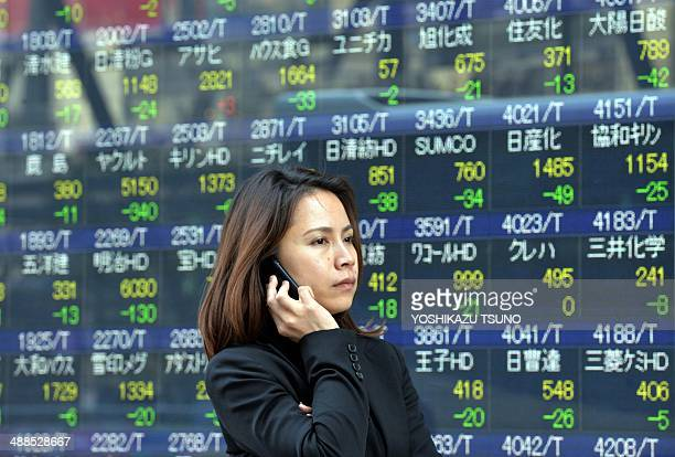 A woman uses her mobile phone before a share prices board in Tokyo on May 7 2014 Japan's share prices fell 42406 points to close at 1403345 points at...