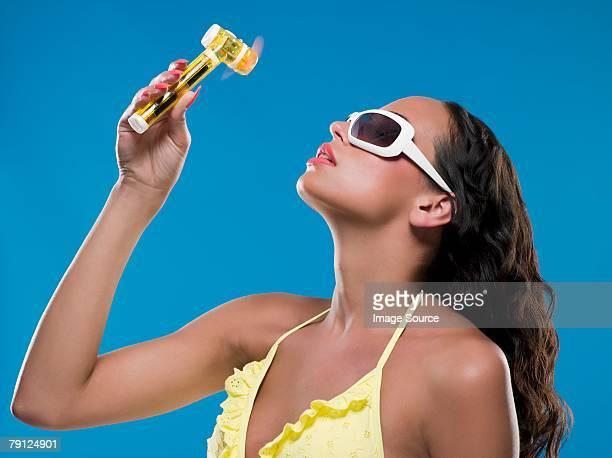 Woman using a hand fan