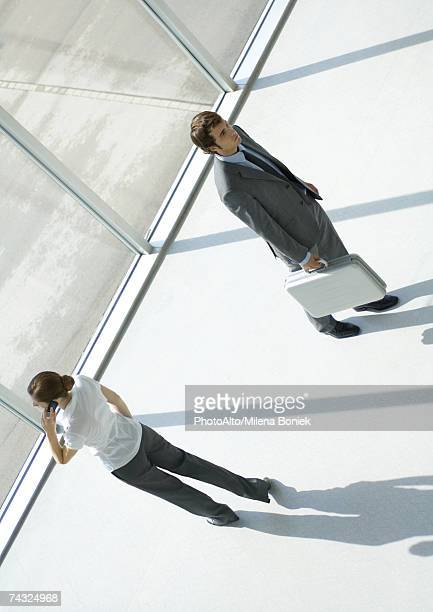 Woman using cell phone and man walking away with briefcase, full length, high angle view