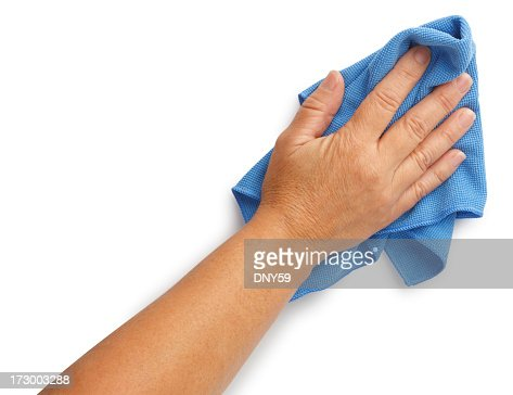 Woman using cleaning rag isolated on white background