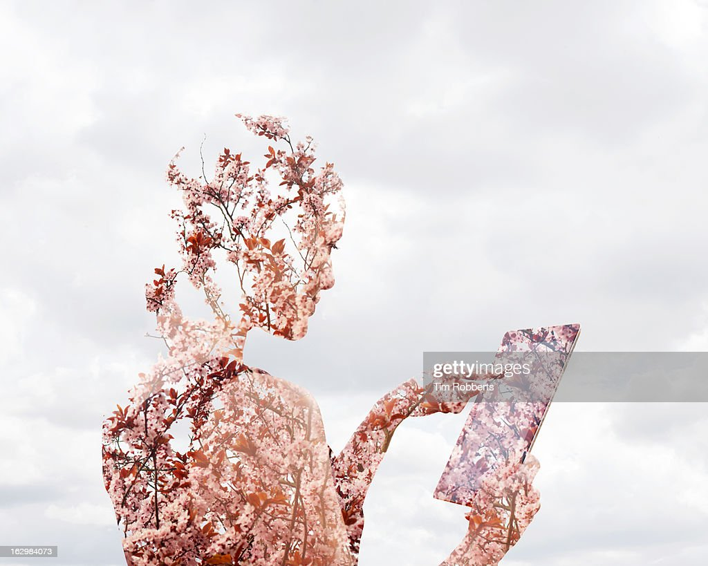 Woman using digital tablet with blossom.