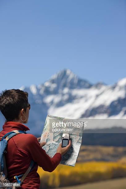 Woman using GPS