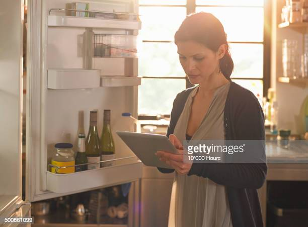 Woman using iPad to do her food shopping online