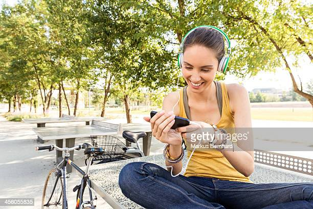 Woman using mobile device.