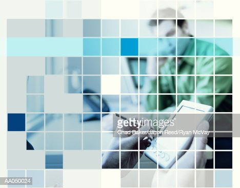 Woman using personal digital assistant in meeting, digital composite : Stock Photo