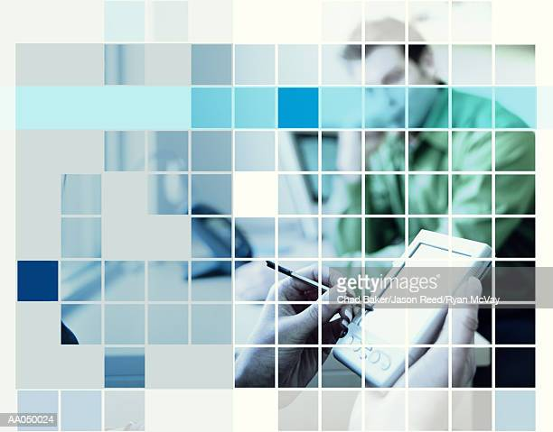 Woman using personal digital assistant in meeting, digital composite