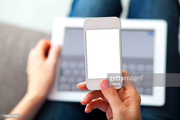 Woman Using Smart Phone and Digital Tablet