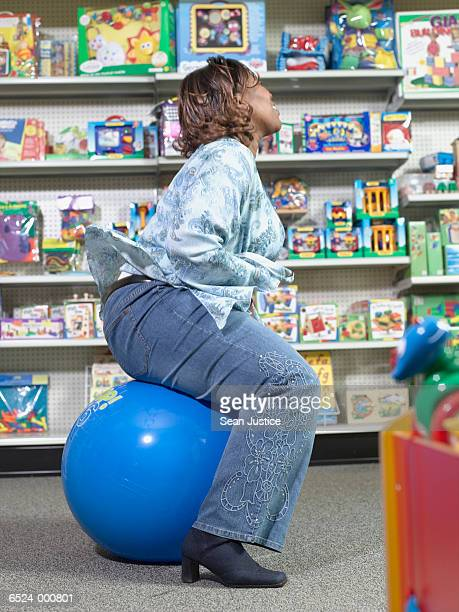 Woman using Space Hopper