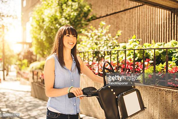 woman using the bicycle in Montreal