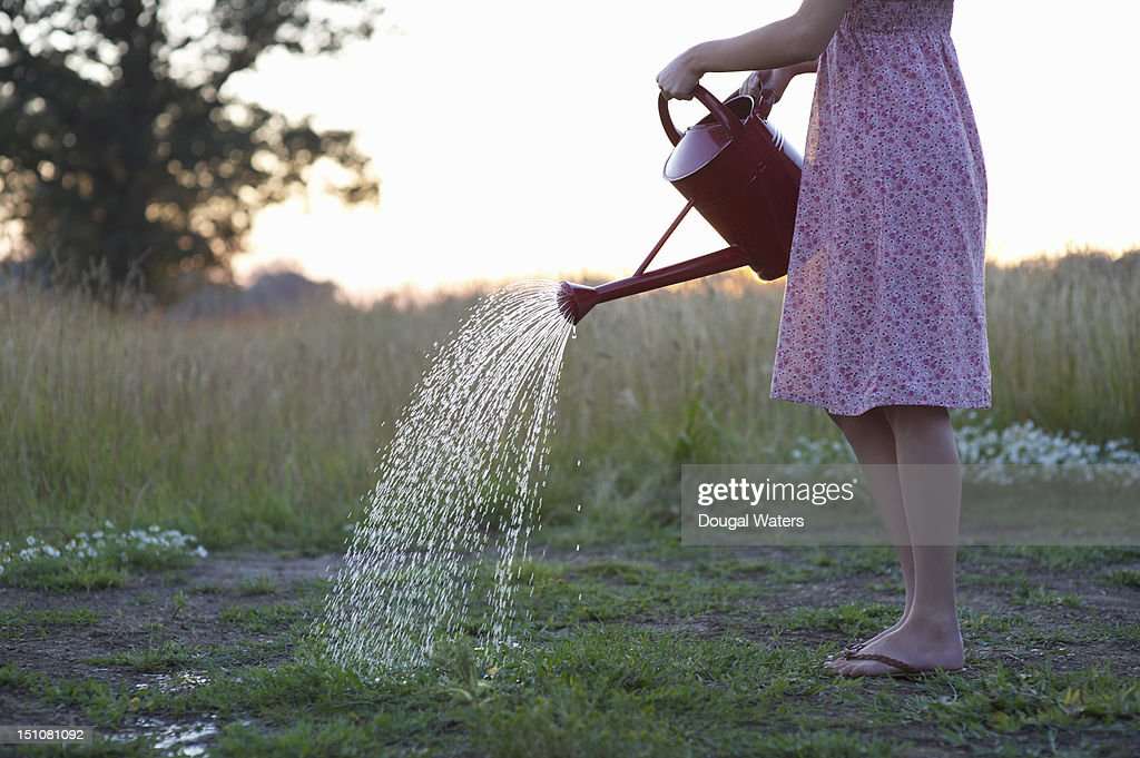 Woman using watering can in countryside. : Stock Photo