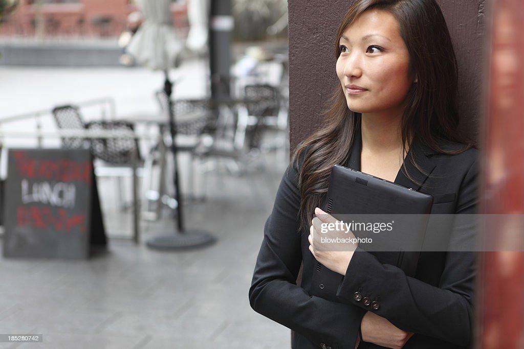 Woman Using Web Tablet
