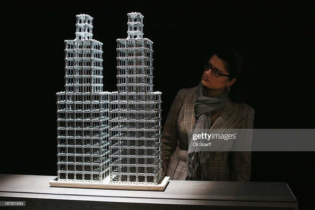 A woman views a maquette for the Fourth Plinth proposal by Chris Burden entitled 'Skyscrapers, 4th Plinth Project' which features in the exhibition 'Fourth Plinth: Contemporary Monument' at the ICA on December 4, 2012 in London, England. The exhibition at the Institute of Contemporary Arts features maquettes by artists including Tracy Emin, Antony Gormley, Anish Kapoor, it opens tomorrow and runs until January 20, 2013.
