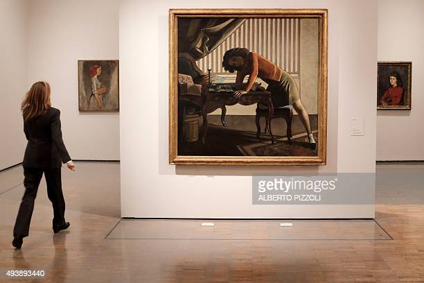 A woman visits the exhibition dedicated to the work of late French artist Balthus at the Villa Medici in Rome on October 23 2015 With a major...