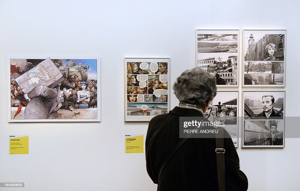 A woman visits the exhibition entitled 'Bande dessinée et Immigration. 1913-2013' (Comics and Immigration, 1913-2013) at the Museum of the History of Immigration in Paris on October 14, 2013. The exhibition will run from October 16 until April 27, 2014. AFP PHOTO / PIERRE ANDRIEU