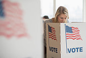 Woman voting on election day