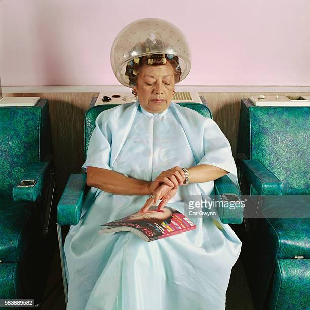 Woman Waiting at Hair Salon