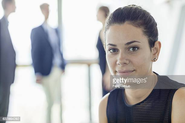 Woman waiting for interview in lobby