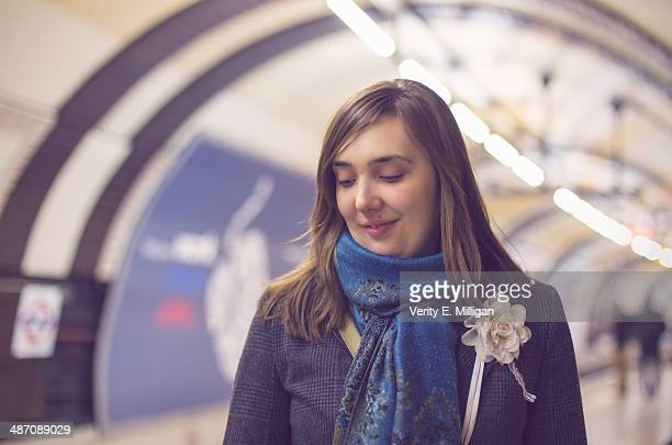 Woman waiting for London Tube