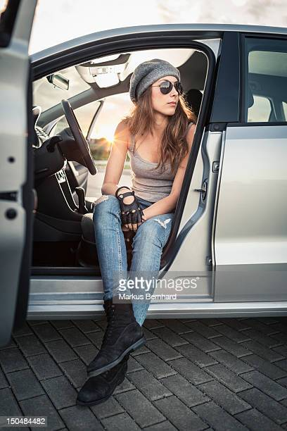 Woman waiting in car