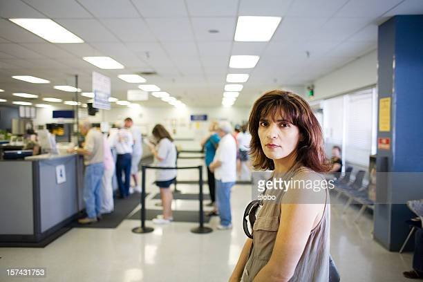 Woman Waiting in Line