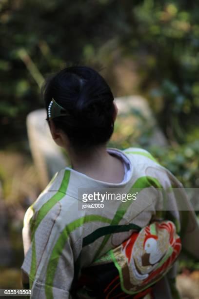 Woman walking around cafe
