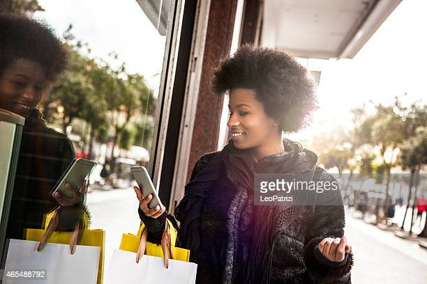 Woman walking for shopping in downtown