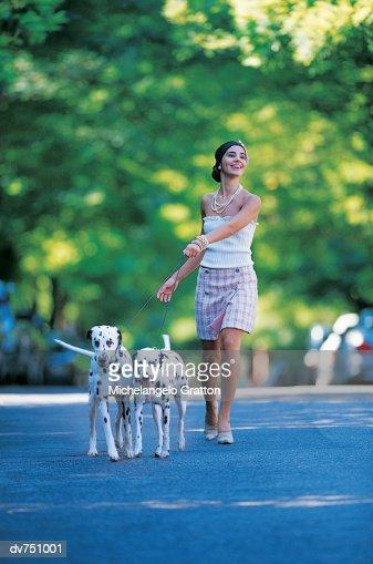 Woman Walking Her Two Dalmatians : Stock Photo