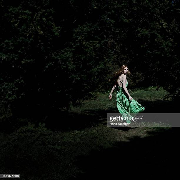 Woman walking in a park, Kiev, Ukraine