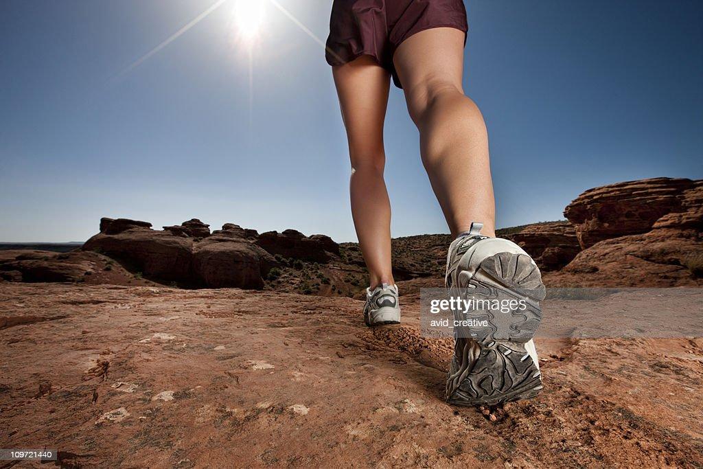 Woman Walking in Desert : Stock Photo