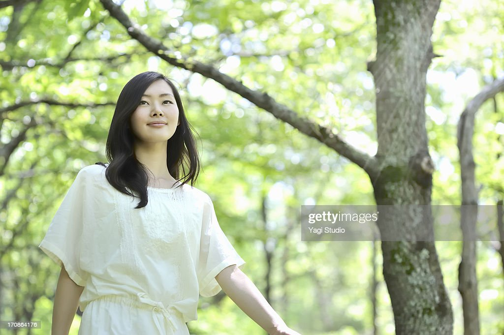 woman walking in nature : Stock Photo