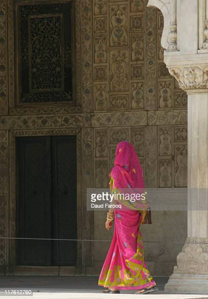 Woman walking in Red Fort, Delhi, India