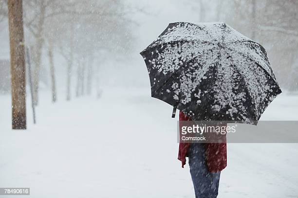 Woman walking in snow