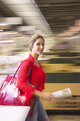 Woman walking in store