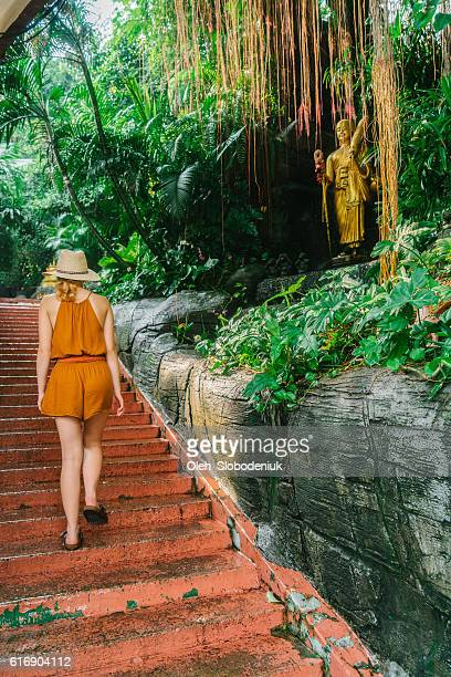 Woman walking near the Golden Mount in Bangkok