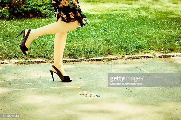 Woman walking on path