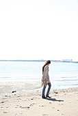 Woman Walking on The Beach, Rear View, Full Length, Copy Space
