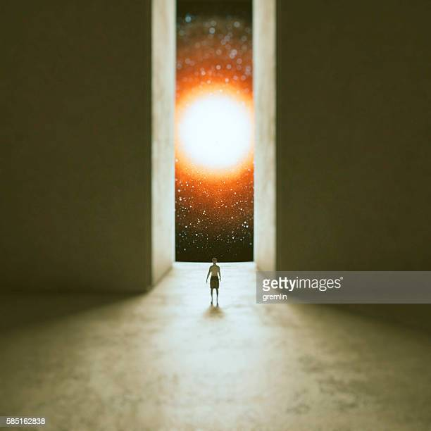 Woman walking through interdimensional passage