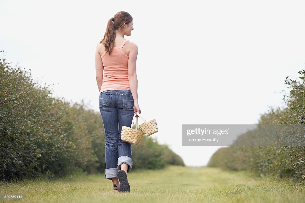 Woman walking through orchard : Stockfoto