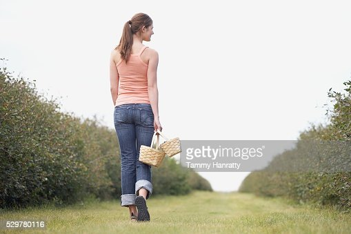 Woman walking through orchard : Stock Photo