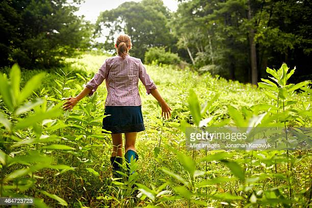 A woman walking through the undergrowth in woodland,with her arms brushing the tops of the wild plants.