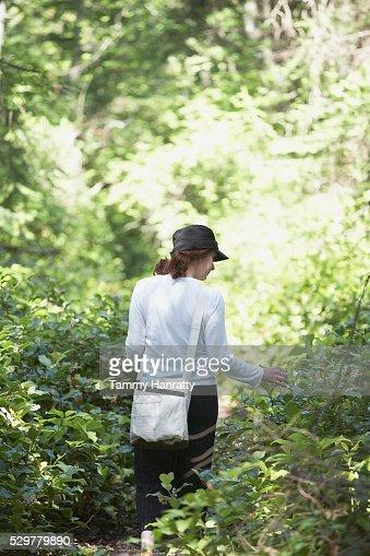 Woman walking through woods : Foto stock
